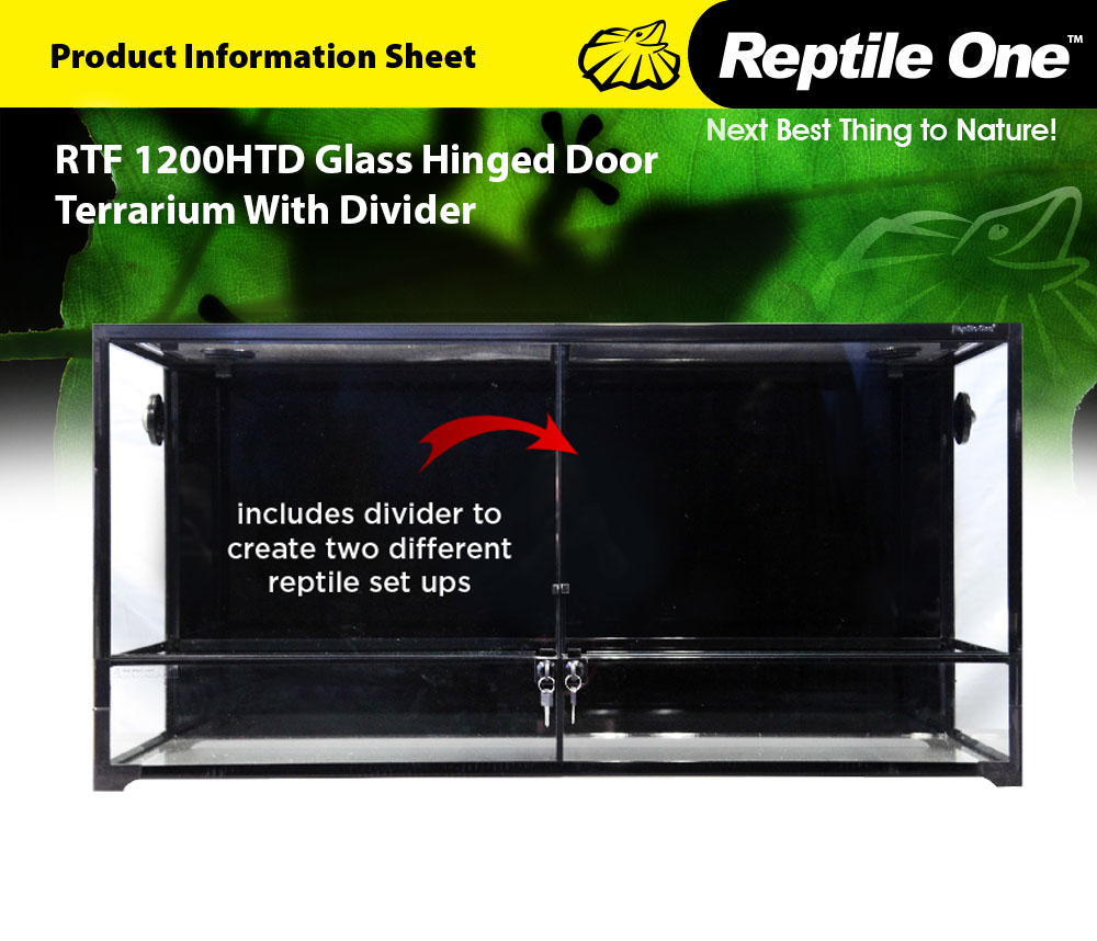 RTF 1200HTD Glass Hinged Door Terrarium With Divider